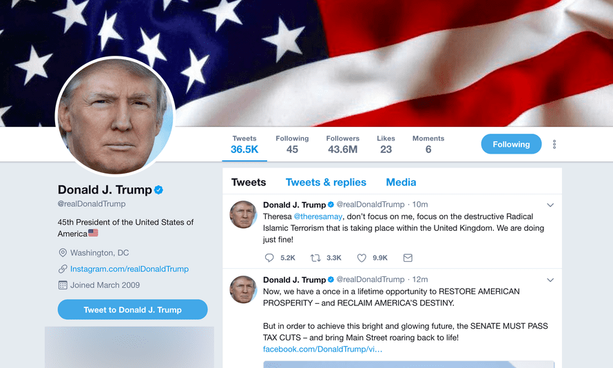 Donald Trump's Twitter page