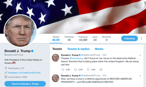 US president Donald Trump's twitter account in which he tried to tweet the British Prime Minister Theresa May. 30 November 2017.