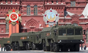 Iskander missile launchers are driven through Red Square in Moscow during the Victory parade in October.