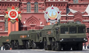 Iskander missile launchers driving during a parade in Moscow's Red Square.