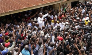 Spurned Congo opposition candidate Martin Fayulu addresses supporters in Kinshasha on Friday.