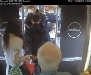 CCTV footage of Jeremy Corbyn on train
