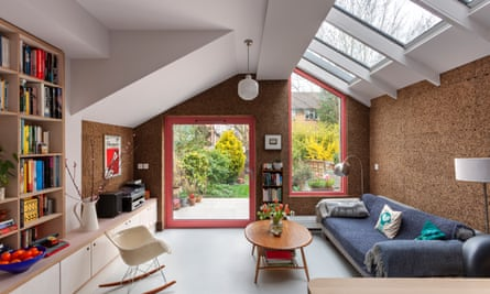 This light-filled extension is clad in thick cork, the centrepiece of a eco-friendly renovation.