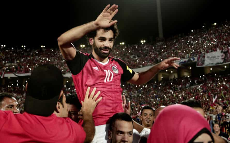 Mohamed Salah celebrates after Egypt beating Congo to qualify for the World Cup in October.