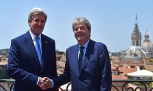 John Kerry with the Italian foreign minister Paolo Gentiloni in Rome today.