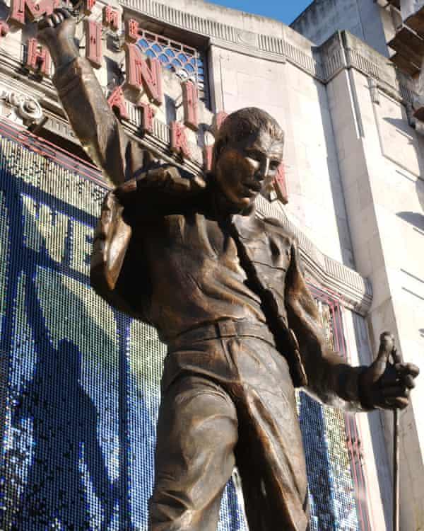 A statue of Freddie Mercury outside the Dominion Theatre, Tottenham Court Road, London