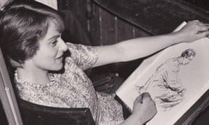 Milein Cosman drawing Peter Ustinov, Edinburgh Festival, 1947.