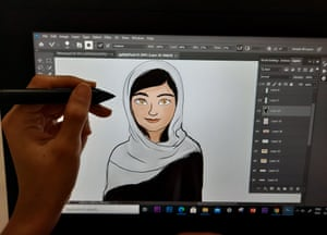 Drawing cartoon on screen