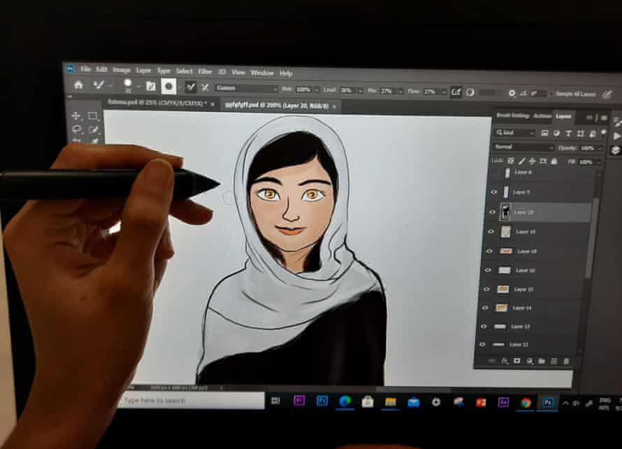 Drawing cartoon on screen