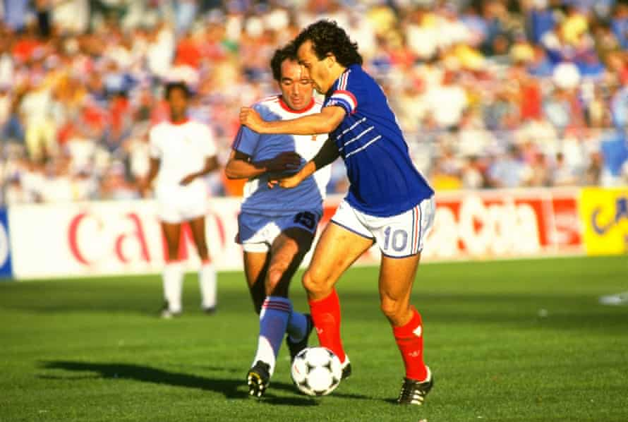 Platini playing against Portugal in the semi-finals.