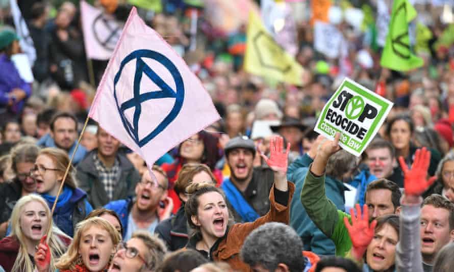 Extinction Rebellion protest in London.