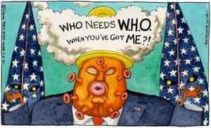 "Steve Bell cartoon 09/04/20: coronavirus-faced Donald Trump steams: ""Who needs WHO when you've got me?"""