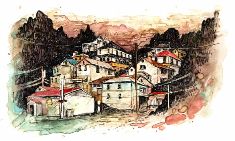 West Virginia opioid town illustration