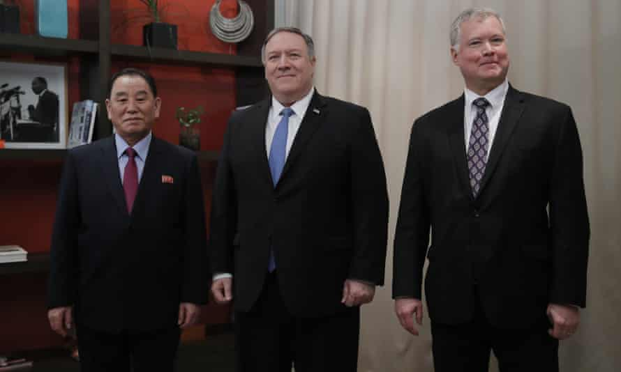 Secretary of State Mike Pompeo, center, Kim Yong Chol, a North Korean senior ruling party official and US Special Representative for North Korea, Stephen Biegun
