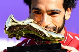 Liverpool's Mohamed Salah with his Premier League Golden Boot award after helping his team beat Brighton 4-0 at Anfield.