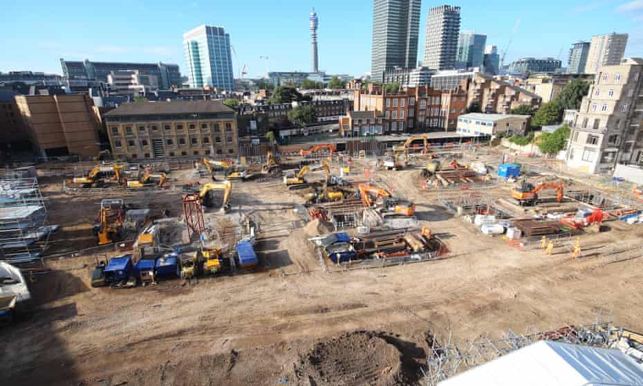 Excavation work for HS2 at Euston station in London