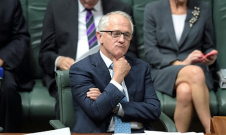 Australian Prime Minister Malcolm Turnbull reacts during House of Representatives Question Time at Parliament House in Canberra, Wednesday, Sept. 16, 2015.