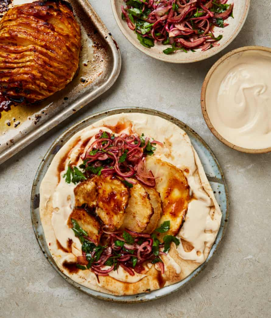 Meera Sodha's hasselback celeriac with miso and red onion