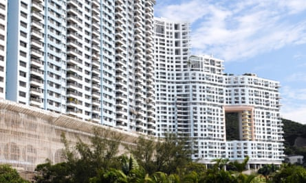"""This hole in this development at Repulse Bay development is supposedly a feng shui """"dragon gate""""."""