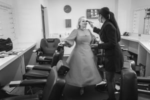 Nicola Caughlon, and guest from Bridgerton backstage having a touch up