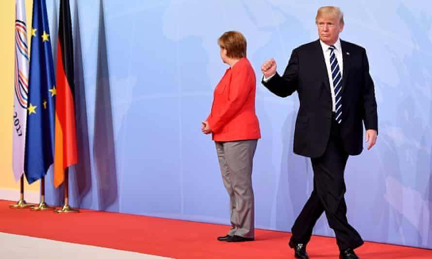 Angela Merkel and Donald Trump in 2017