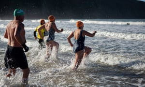 Author Veronica Henry, right, and fellow swimmers, north Devon