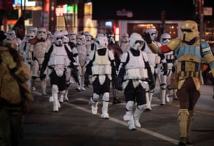 Star Wars stormtroopers march past