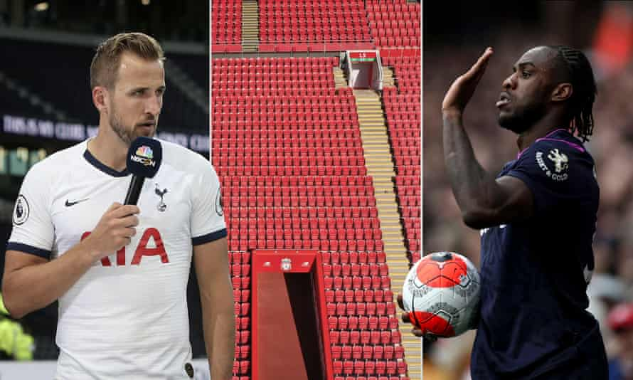 Harry Kane is interviewed by NBC Sports after Spurs' Premier League match against Aston Villa; an empty Anfield in April; Michail Antonio of West Ham whose sleeve sponsor went into administration last week.