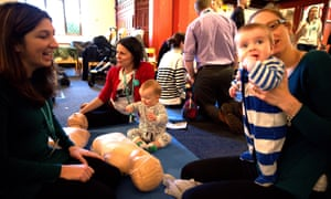 Junior doctors in Didsbury, south Manchester giving baby lifesaving classes during the BMA's second 24 hour strike in England.