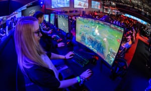 Gamers take part in an eSports tournament in Leipzig