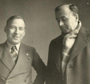 Nicholas Tucker's father, Professor AN Tucker (left), sporting his Peace Pledge Union badge, with a friend, German academic Professor Lucas