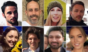 London Bridge attack victims: clockwise from top left: Alexandre Pigeard, Sébastien Bélanger, Chrstine Archibald, Xavier Thomas, Sara Zelenak, James McMullan, Ignacio Echeverría and Kirsty Boden