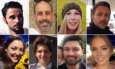 The victims of the London Bridge attack, clockwise from top left: Alexandre Pigeard, Sébastien Bélanger, Christine Archibald, Xavier Thomas, Sarah Zelenak, James McMullan, Ignacio Echeverría and Kirsty Boden