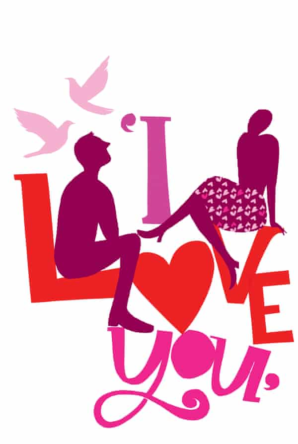Illustration featuring the words 'I love you'