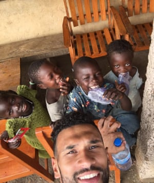 Caulker takes a selfie in the remote village of Lal Gberay, where the school he has funded has opened. 'I was with 15 or 16 children who'd never seen their own reflection before, and just spent the whole evening laughing their heads off.'