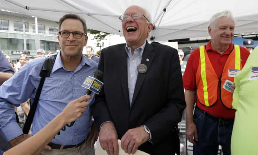 Bernie Sanders laughs at a question during an appearance in Seattle