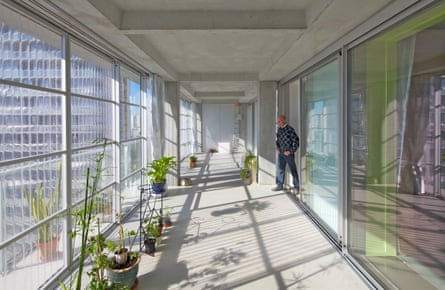 The winter garden interior of one of the new layers on the 16-storey Grand Parc blocks.