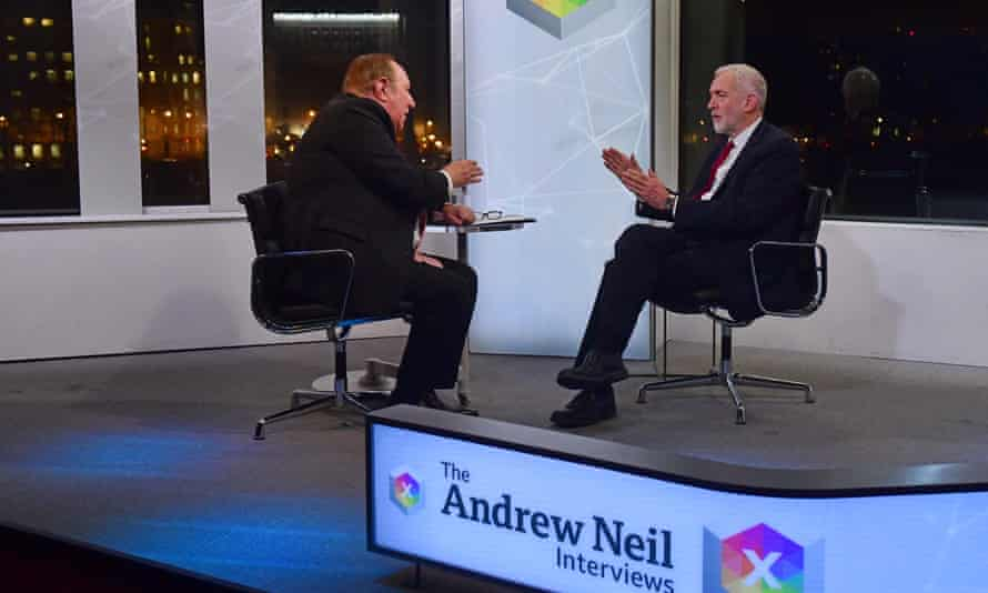 Andrew Neil (left) with Jeremy Corbyn during a BBC interview with the Labour party leader
