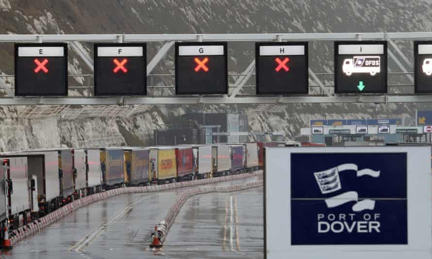 A line of lorries starting to build up at Dover in January this year, following the end of the Brexit transition period.