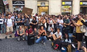people protesting in barcelona during global climate strike