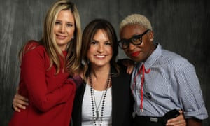 From left to right: Mira Sorvino, Mariska Hargitay and Cynthia Erivo pose for a portrait at 'Time's Up' during the Tribeca film festival in New York City.