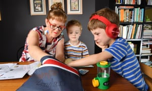 mother home schooling two boys