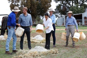 The Duke of Sussex and Duchess of Sussex visit a local farming family, the Woodleys in Dubbo, on the second day of their visit to Australia.