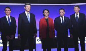 Five of the Socialist candidates before a TV debate