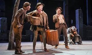 Richard Roxburgh (Estragon), Luke Mullins (Lucky), Hugo Weaving (Vladimir) and Philip Quast (Pozzo) on stage in Waiting for Godot