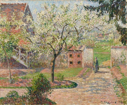 Plum Trees in Blossom, Éragny, 1894, by Camille Pissarro.