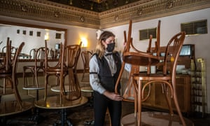 Preparations are made for the reopening of Cafe Savoy in Prague, Czech Republic, on Sunday.