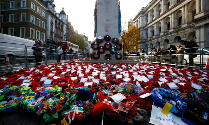 The Cenotaph in London after Sunday's remembrance ceremonies.