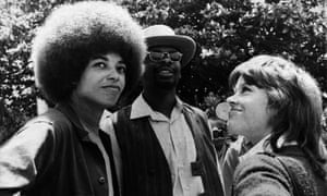 Angela Davis with Jane Fonda during a demonstration against the war in Vietnam in Los Angeles, California.