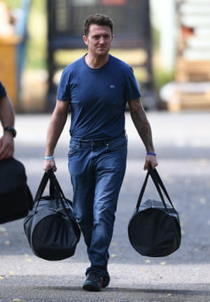 Tommy Robinson leaves Onley jail, near Rugby, after the court of appeal ordered he should be retried.